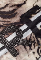 Scarf with animal print and rhinestones