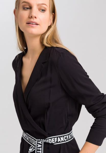 Wrap blouse with writing belt