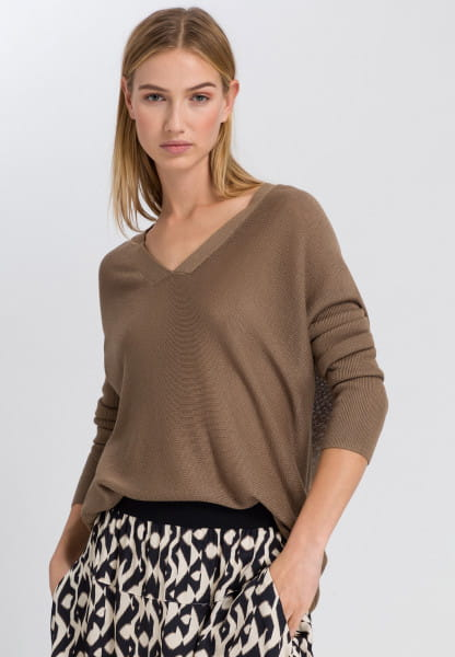Poncho sweater with v-neck