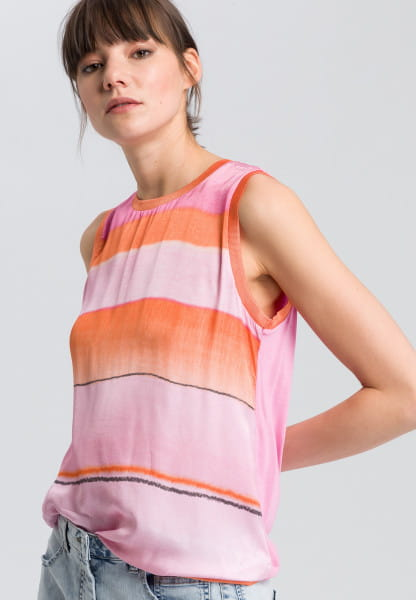 Blouse top with washed-out stripes