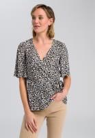 Wickelbluse im Leoparden-Dessin