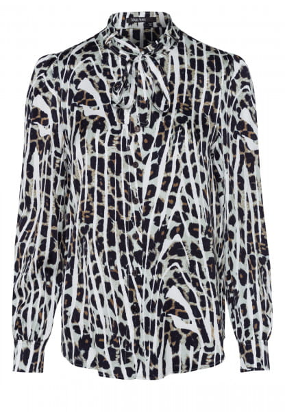 Bow tie blouse with conspicuous animal print