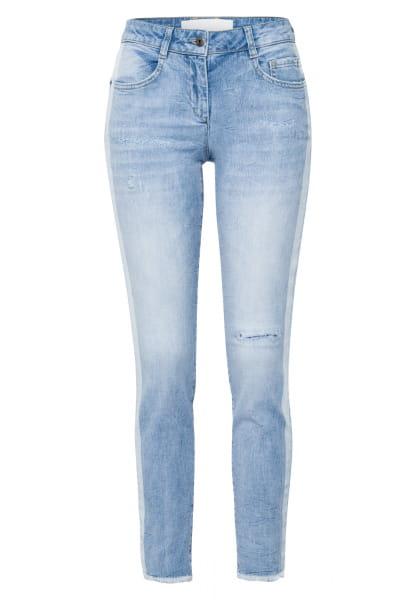 5-Pocket-Jeans mit Fransen-Saum und Destroys