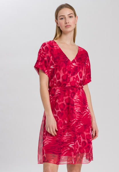 Chiffon dress with animal all-over print