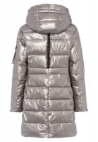 Outdoor coat in metallic style with patches