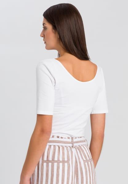 Basicshirt mit tiefem Rundhals