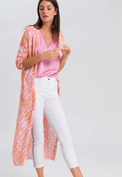 Long cardigan in batik-print