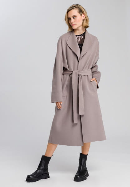 Wrap coat made from real doubleface