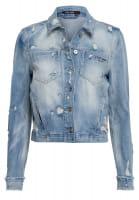 Denim jacket with striking destroyed effects
