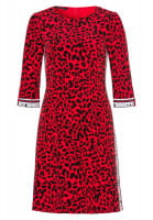 Dress with leopard print with writing tape
