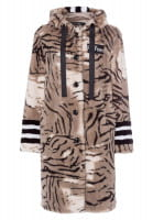 Faux fur coat with abstract animal print