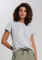 Melange-Shirt mit Logostickerei