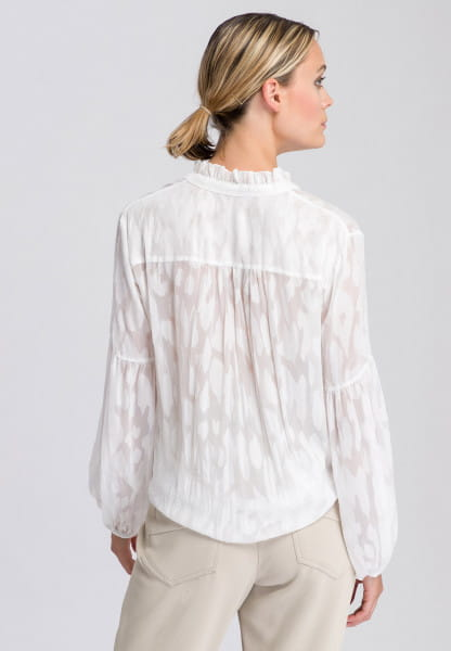 Slip-on blouse in semi-transparent optics with pattern